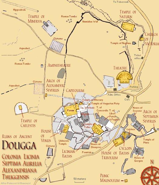 Mappa del sito archeologico  dell'antica città romana di Dougga